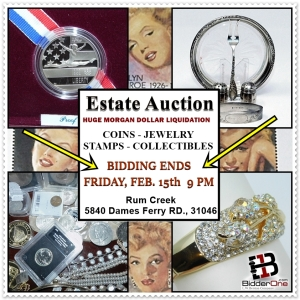 ESTATE COINS - JEWELRY - STAMPS - COLLECTIBLES AUCTION AT RUM CREEK