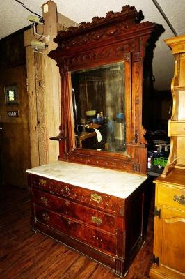 Large Antique Dresser With Marble Top And Tilting Mirror