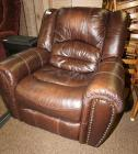 RECLINING GLIDER ROCKER LEATHER CHAIR WITH NAILHEAD TRIM