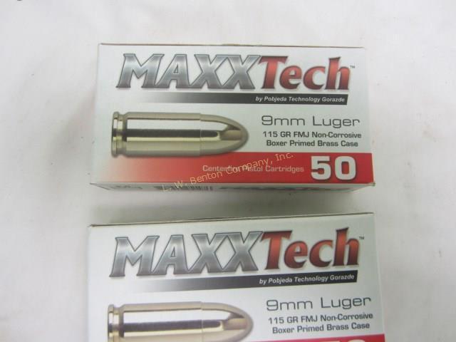 2 Boxes Maxx Tech 9 MM Ammo