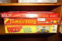 VINTAGE BOARD GAMES INCLUDING BOLO, FAMILY FEUD, AND MOUSETRAP