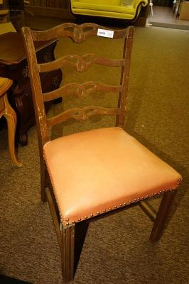 MID-CENTURY CHIPPENDALE REPRODUCTION DINING SIDE CHAIR WITH NAILHEAD UPHOLSTERY