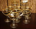 GILDED RIM CRYSTAL SHERBETS AND WINE STEMS
