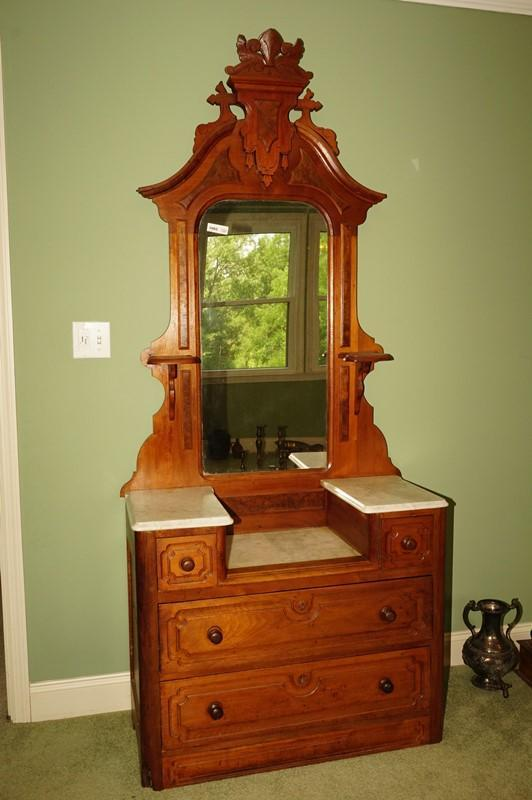 Antique Marble Top Cherry Dresser With