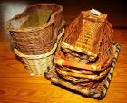 WOVEN WICKER BASKETS, SERVING TRAY, AND FOOTED METAL PLANTER - GRT