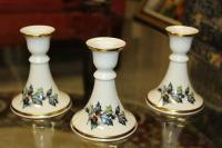 LOT OF 3 LENOX CANDLESTICK HOLDERS WITH HOLLY BERRIES