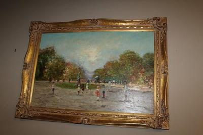 NICELY FRAMED VINTAGE PAINTING ON CANVAS SIGNED