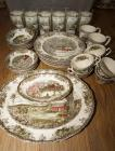 "JOHNSON BROTHERS ""THE FRIENDLY VILLAGE"" CHINA AND GLASSES, 32 PIECES TOTAL, INCLUDES PLASTIC STORAGE TOTE"