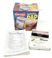 VINTAGE KMART FOCAL FOLDING OPERA GLASS, JANUARY 1940 EDITION READER'S DIGEST, AND BUDWEISER SALUTES DAD