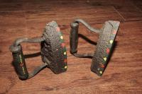 PAIR OF HAND-PAINTED ANTIQUE IRONS