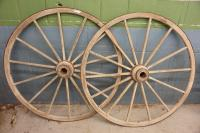 "ANTIQUE WAGON WHEELS, APPROXIMATELY 54"" DIAMETER"