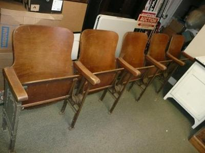 LOT OF ANTIQUE AUDITORIUM CHAIRS