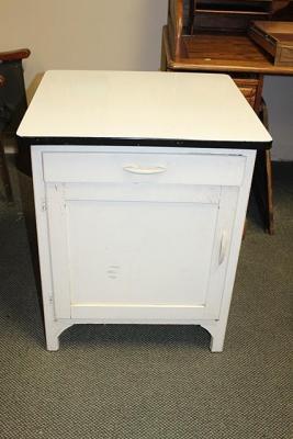 Antique Porcelain Enamel Top Hoosier Base Kitchen Cabinet