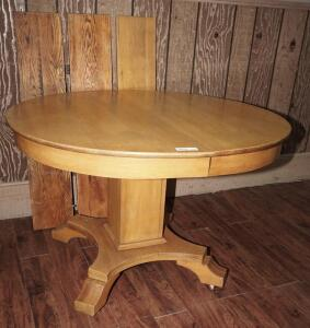 VINTAGE HEAVY WOOD DINING TABLE ON CASTERS WITH THREE LEAVES