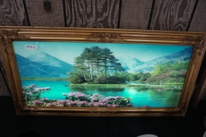 LIGHTED AND ANIMATED WALL ART WITH SOUND, POND SCENE