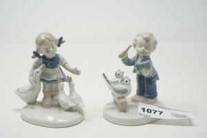PAIR OF VINTAGE GERMAN PORCELAIN FIGURINES, GIRL WITH DUCKS AND BOY SINGING TO BIRDS