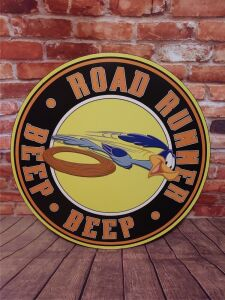 ROAD RUNNER 30 INCH DIAMETER METAL SIGN