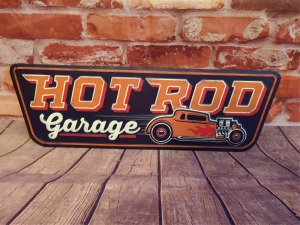 HOT ROD GARAGE 8 IN X 25 IN METAL WALL ART