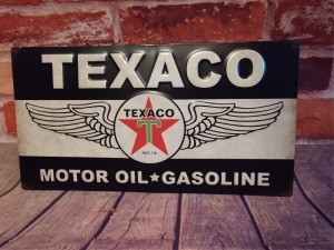 TEXACO MOTOR OIL 9 IN X 16 IN METAL WALL ART