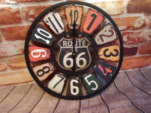 ROUTE 66 WALL CLOCK,BATTERY OPERATED, 16 IN DIAMETER