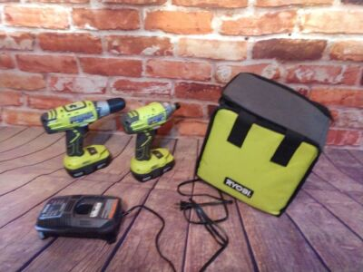 RYOBI, COMBO IMPACT DRILL AND REGULAR DRILL, 18-VOLT LITHIUM, HAS TWO BATTERIES AND ONE CHARGER