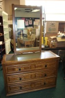VINTAGE DRESSER WITH TWO WALL MOUNT MIRRORS BY DIXIE FURNITURE