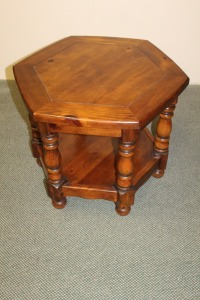 VINTAGE WOODEN OCTAGONAL END TABLE