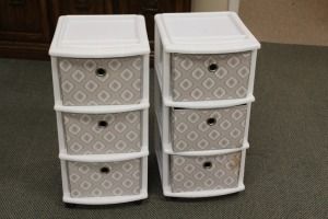 LOT OF 2 THREE DRAWER STORAGE CABINETS