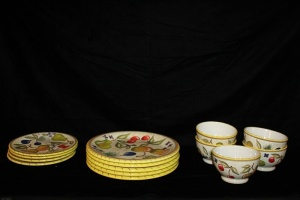 LOT OF 14 PCS OF CERTIFIED INTERNATIONAL PLATES AND BOWLS WITH FRUIT DESIGN