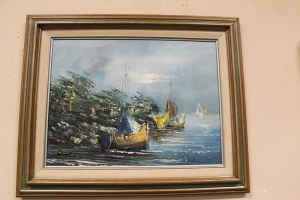 VINTAGE FRAMED PAINTING ON CANVAS OF FISHING BOATS