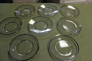 LOT OF 8 CLEAR GLASS PLATES TRIMMED IN SILVER