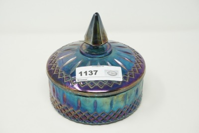 IRIDESCENT ART GLASS COVERED CANDY DISH