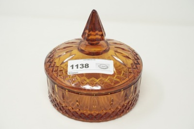 ART GLASS COVERED CANDY DISH
