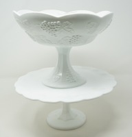 MILK GLASS FOOTED SERVING BOWL AND CAKE PLATE