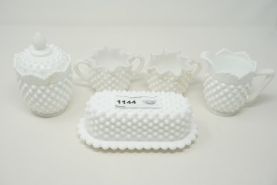 MILK GLASS HOBNAIL CREAMS, SUGARS, AND BUTTER DISH