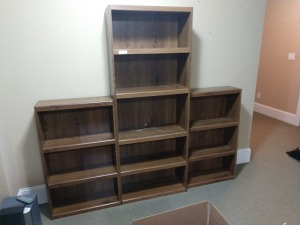 3 SECTION BOOK SHELF, THIS IS IN VERY GOOD CONDITION.