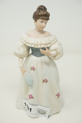 SIGNED BISQUE PORCELAIN VICTORIAN LADY FIGURINE