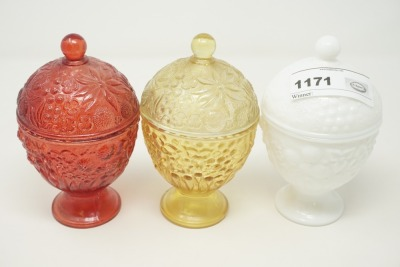 3 VINTAGE AVON COVERED CANDY JARS