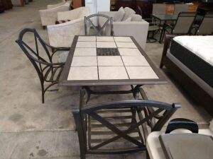 Very Nice Aluminium Frame With Porcelain Tile, Has Three Chairs And Cover,Tile Can Be Changed To Fit Decoration Of Your Patio, One Corner Leg Needs A Bolt Put In It.