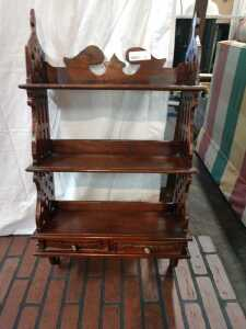 BEAUTIFUL WOODEN WALL SHELF, HAS TWO DRAWERS , VERY NICE WOOD WORK ON THE SIDE