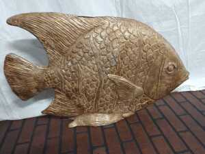 LARGE 21 HIGH BY 34 LONG POTTERY TYPE MATERIAL FISH, GREAT ROOM DECORATION, VERY NICE