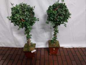 SET OF TWO 31 INCH TALL ARTIFICIAL PLANTS IN SQUARE ORNATE TYPE PLANTERS