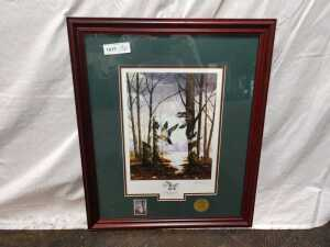 20 X 25 MATTED FRAMED TWISTING THROUGH WOOD DUCKS, SIGNED BY BILL PENDERGRASS, HAS OFFICIAL SEAL INSIDE FRAME