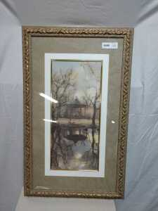 19 X 30 MATTED FRAMED ARTWORK, BEAUTIFUL GAZEBO BY THE POND IN ORNATE FRAME