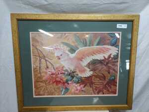 26 BY 33 MATTED FRAMED ARTWORK, TITLE IS PINK COCKATOO