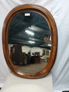 BEAUTIFUL OVAL MIRROR STAND 41 INCHES HIGH VERY NICE WOOD FRAME