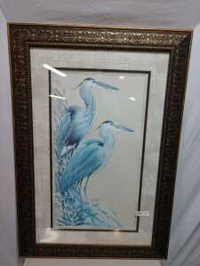 31 BY 45 MATTED FRAMED ARTWORK, IS SIGNED
