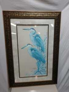 31 BY 45 MATTED FRAMED ARTWORK, THIS PRINT IS SIGNED AND IS VERY BEAUTIFUL ORNATE FRAME