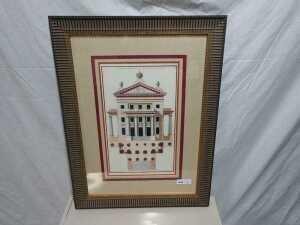 24 BY 32 MATTED FRAMED FRENCH ARTWORK
