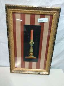 14 X 21 FRAMED ARTWORK, HAS STRIPED BACKGROUND CANDLESTICK THEME VERY NICE
